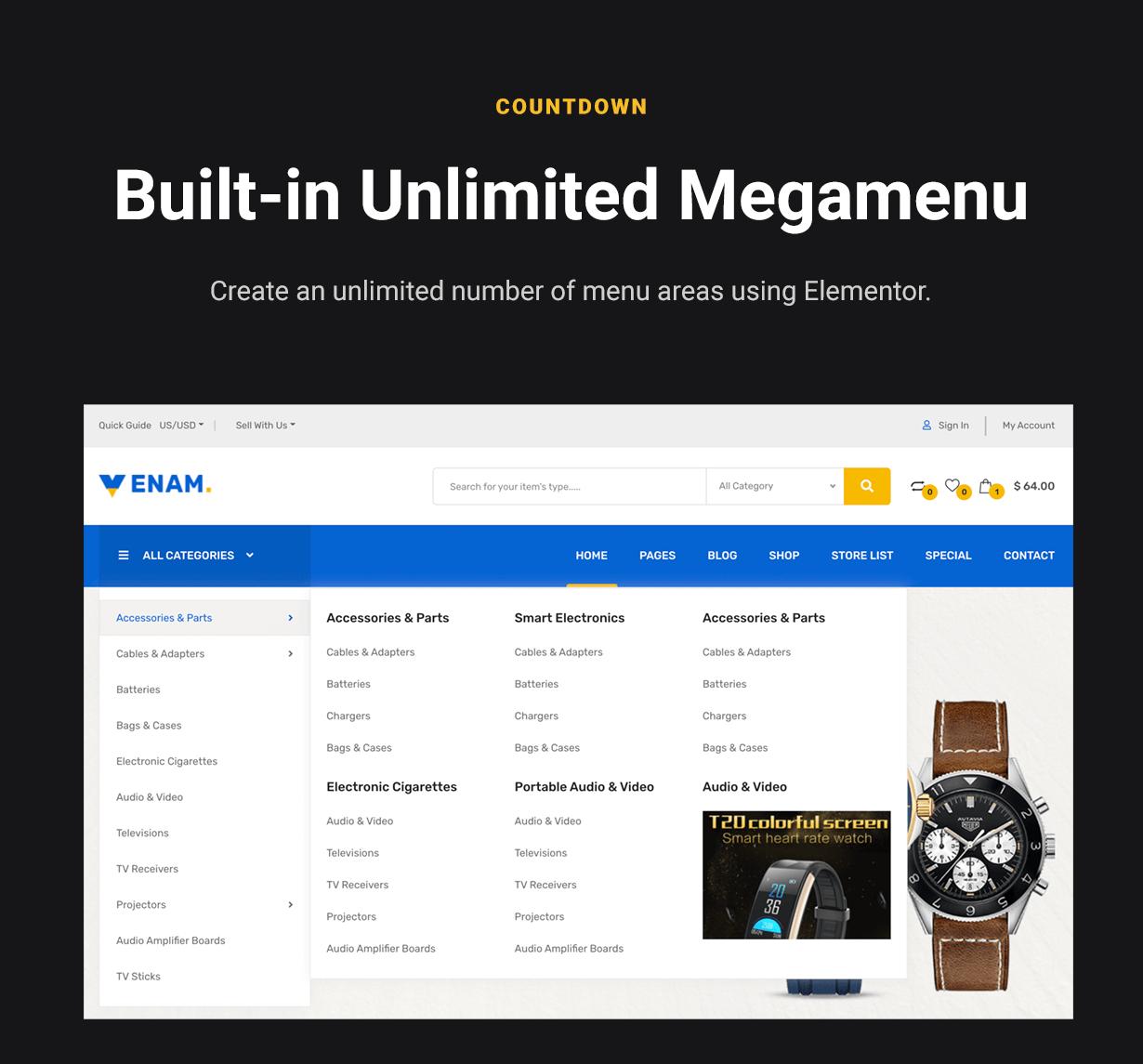 WordPress WooCommerce Mega Menu