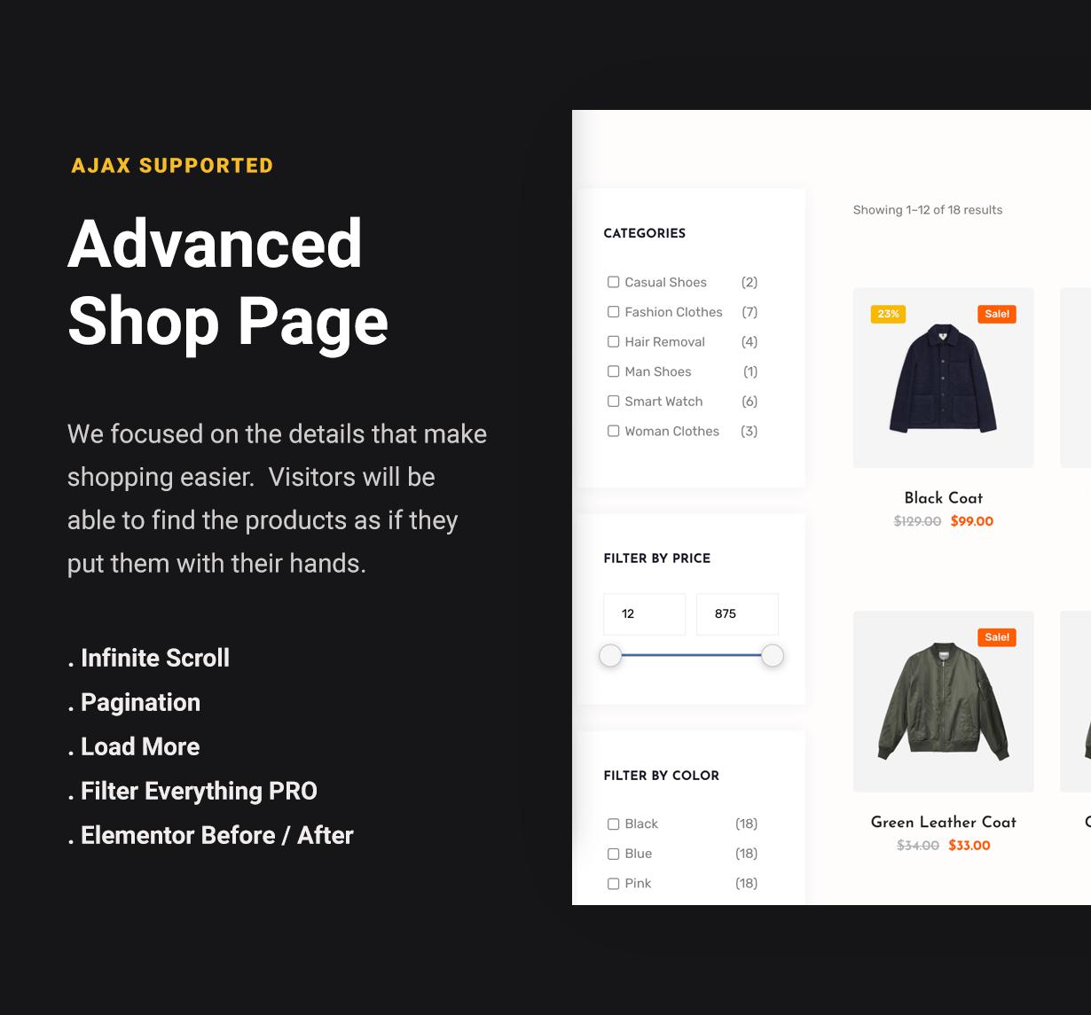 WordPress WooCommerce Advanced Filtrelable Shop Page