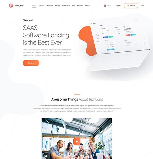 ninetheme techland wordpress theme intro