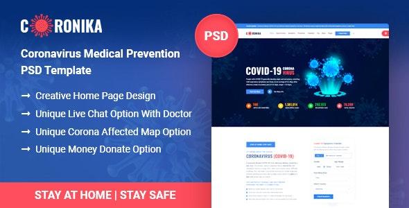 Coronika - Coronavirus Medical Prevention & Awareness PSD Template